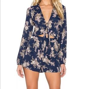 flynn skye floral romper small one piece jumpsuit